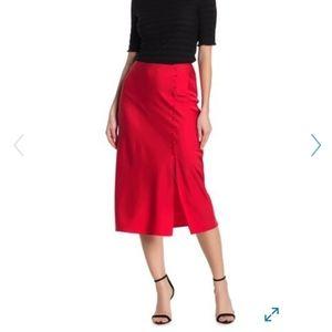 Elodie Red slip midi skirt with side slit Medium